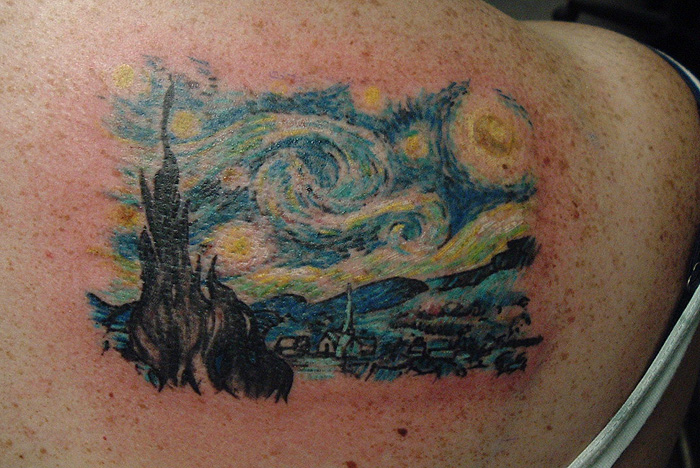 Pictures Of Starry Night Tattoo Black And White Rock Cafe