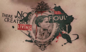 Cameo and Bukowski chest piece by allentattoo