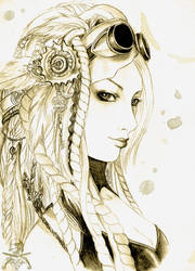 Steampunk portrait by ooneithoo