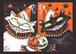 Halloween Party Cats ACEO