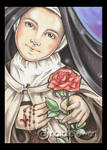 Saint Therese with Pink Rose