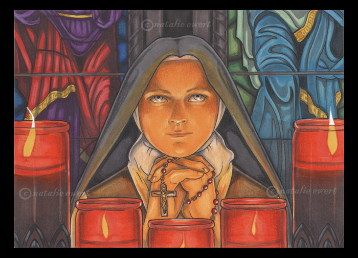 St Therese of Lisieux Praying by natamon