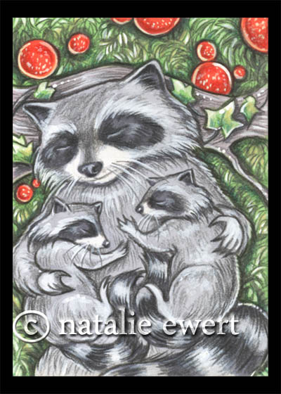 Raccoon Family Nap Time by natamon