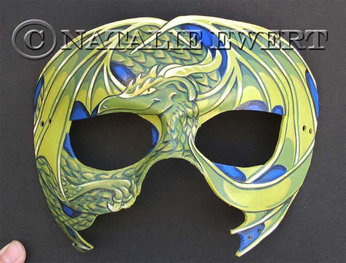 Curled Dragon Mask In Green SOLD