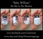 William The Baby Bat in a Blanket Necklace