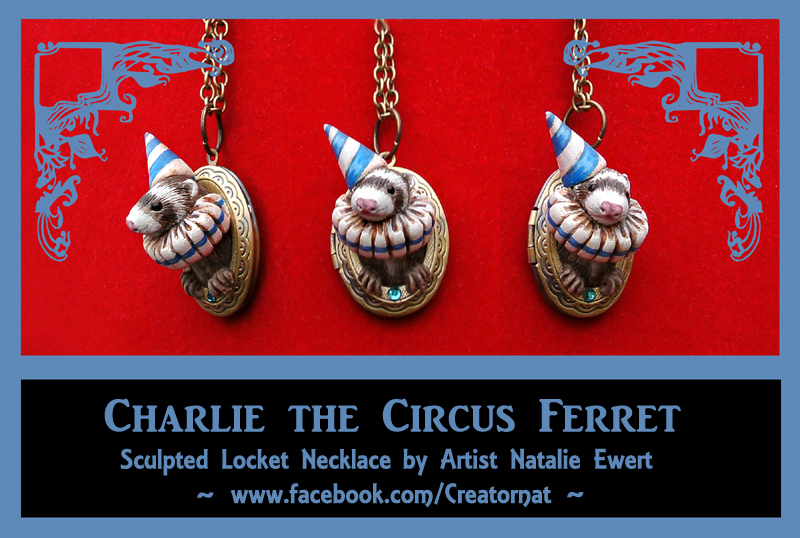 Charlie the Circus Ferret Sculpted Locket by natamon