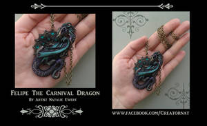Filipe The Carnival Dragon Polymer Clay Necklace by natamon