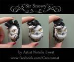 'Sir Snowy' Polymer Clay Brooch Pin