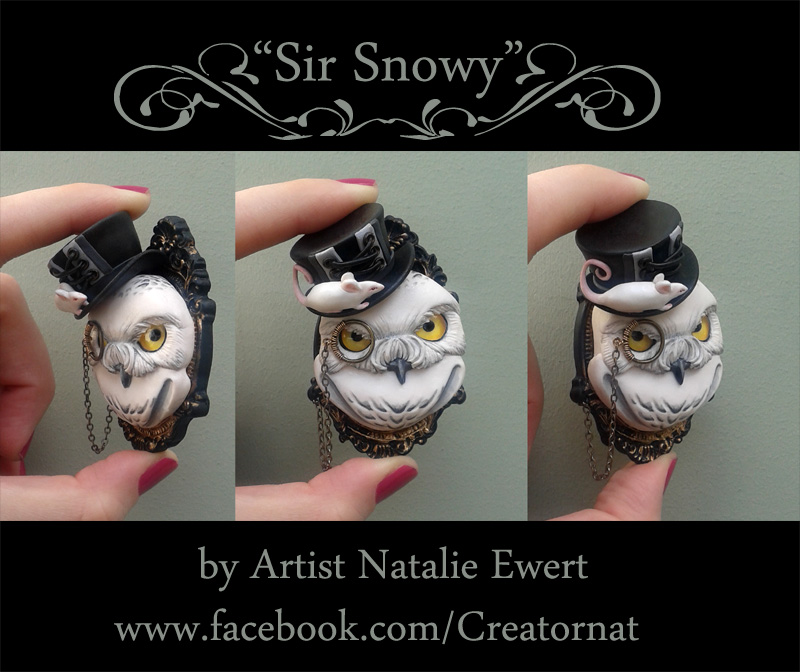 'Sir Snowy' Polymer Clay Brooch Pin by natamon