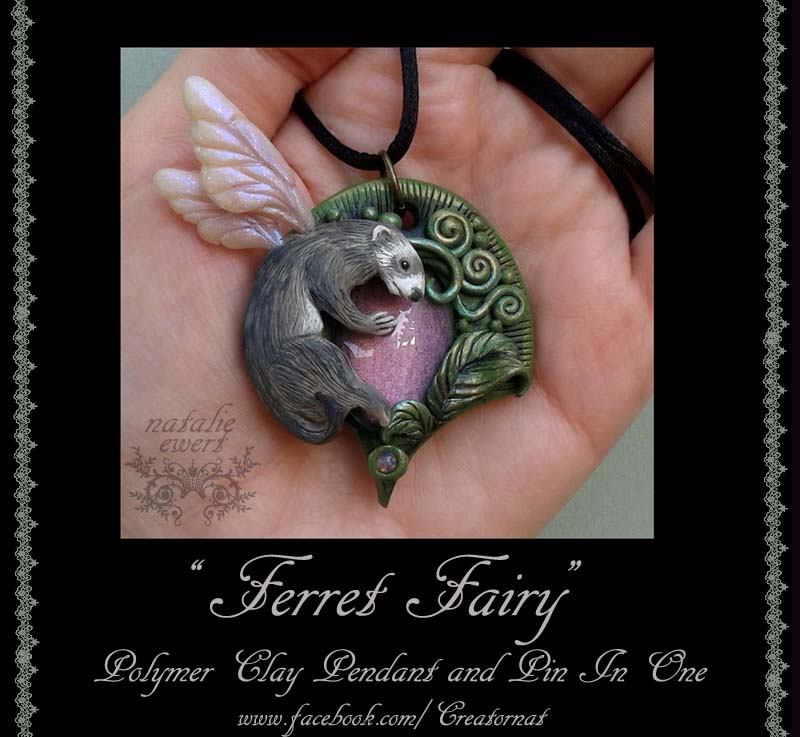 Fairy Ferret Polymer Clay Pendant and Brooch Pin by natamon