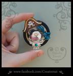 Pirate Ferret Polymer Clay Brooch Pin