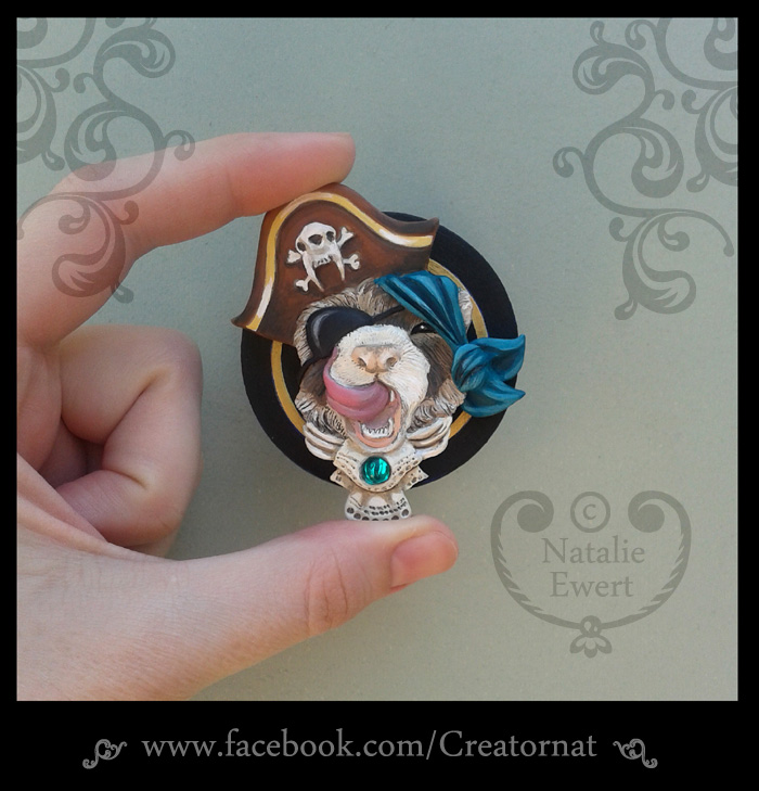 Pirate Ferret Polymer Clay Brooch Pin by natamon