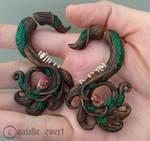 Little Forest Polymer Clay Faker Gauge Earrings