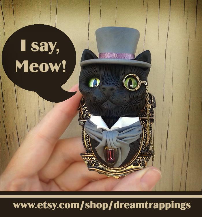 Dapper Black Cat Custom Sculpted Brooch by natamon