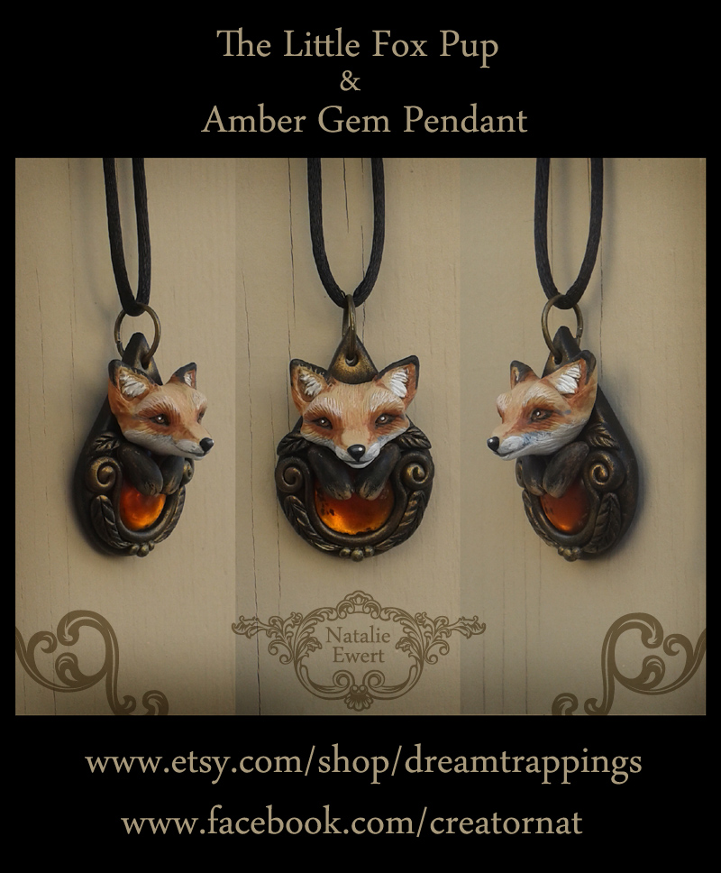 Little Fox Pup And Amber Gem Pendant by natamon