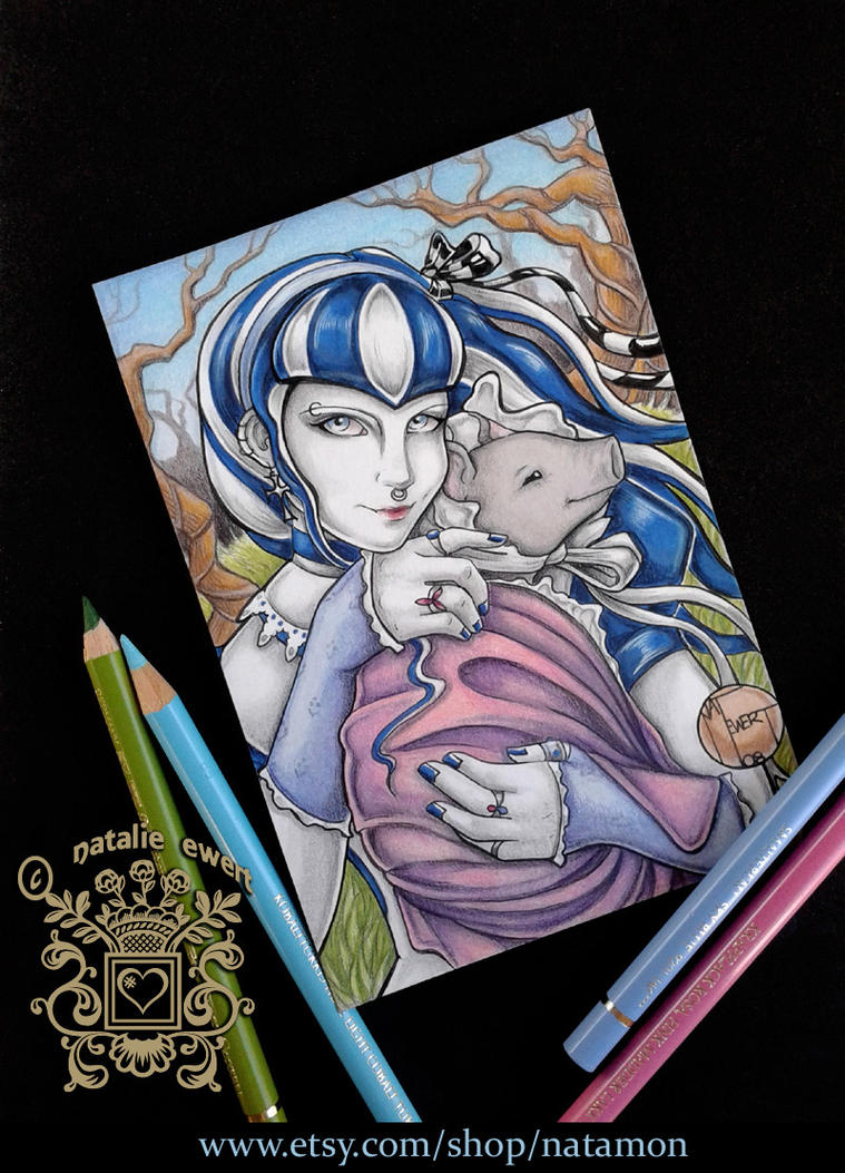 Gothic Beauty Alice and Piglet by natamon