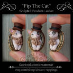 Pip The Cat Sculpted Polymer Clay Locket