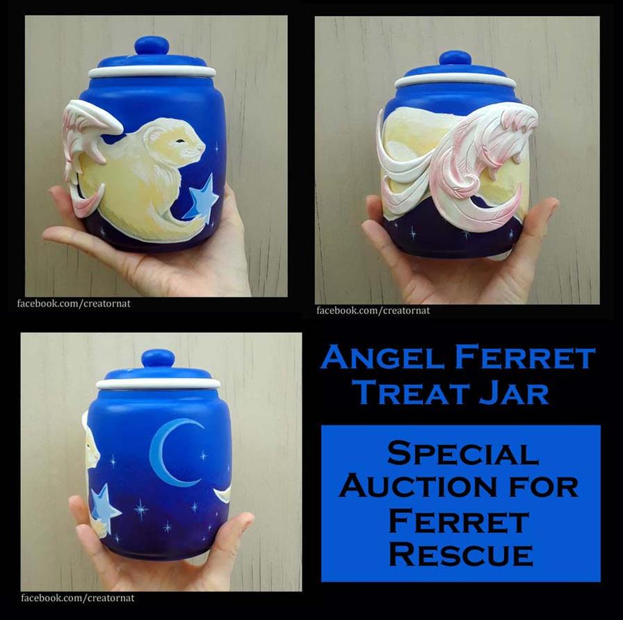 Angel Ferret Treat Jar For Auction by natamon