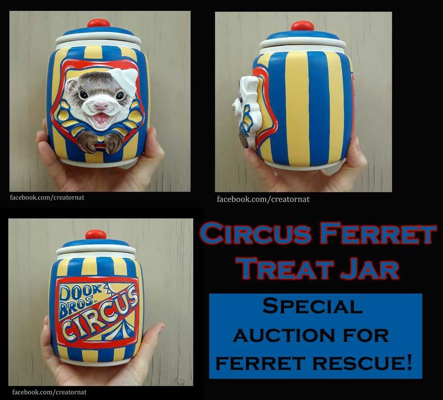 Circus Ferret Treat Jar Auction by natamon