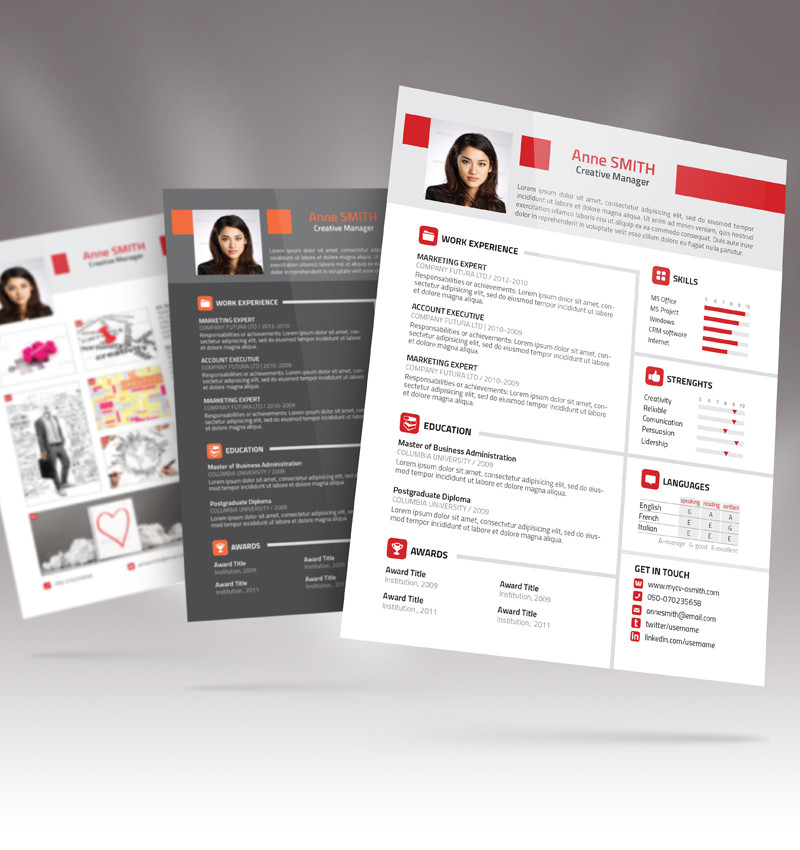 Creative resume template design vector material Law