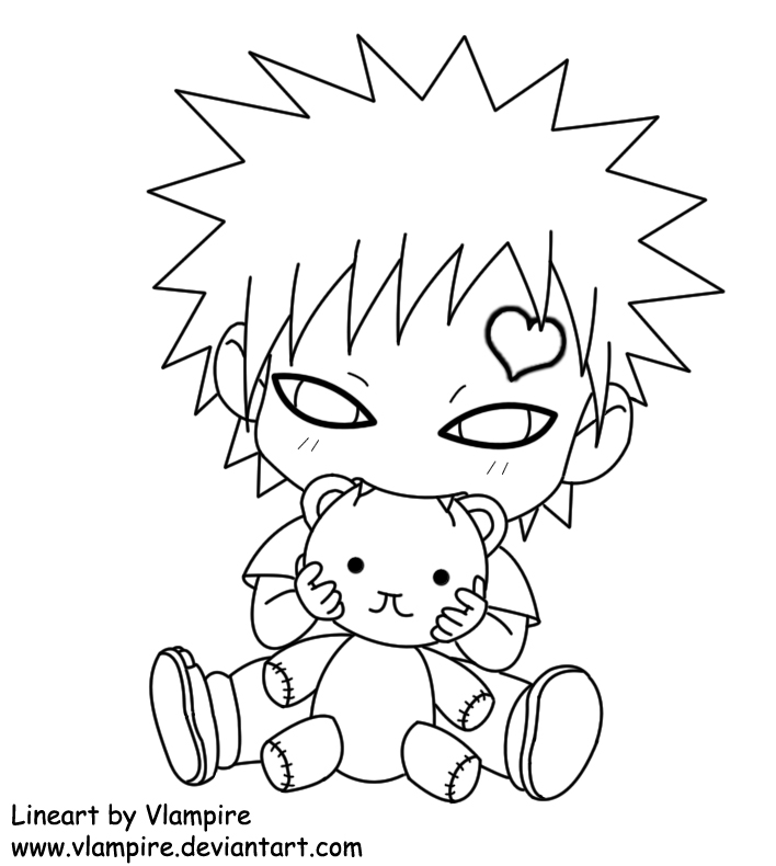 Chibi gaara lineart by vlampire on deviantart for Chibi naruto coloring pages