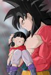 SSJ4 Goku holding Pan : Line :blaze125521: