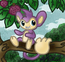 PKMN-Aipom in a Tree by rosa-pegasus