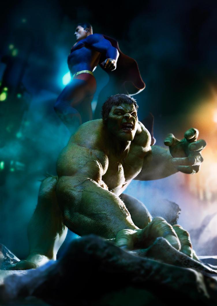 Superman and Hulk by vshen