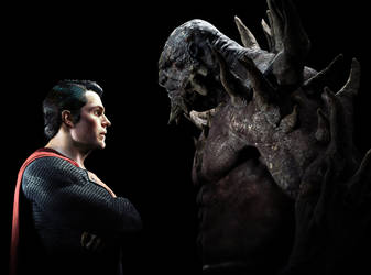 Superman and Doomsday Standoff by vshen