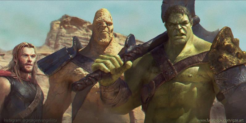 Hulk Korg and Thor