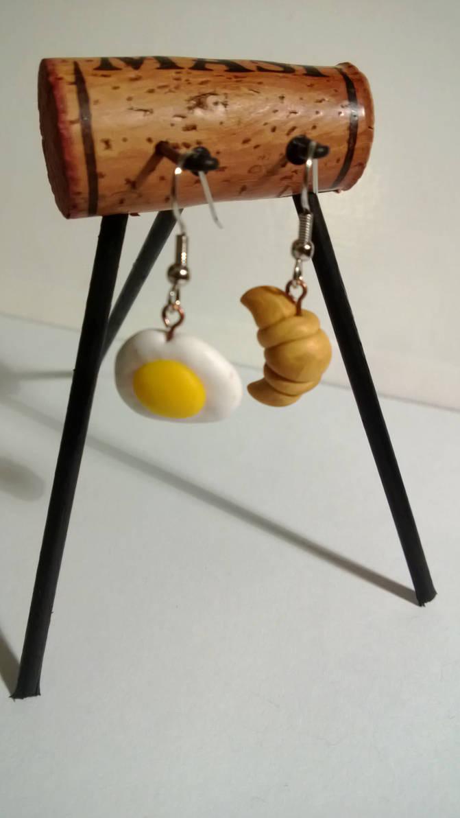 Breakfast - Polymer Clay Earrings by pun
