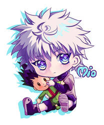 Killua with Gon plushie by Myuchiisu