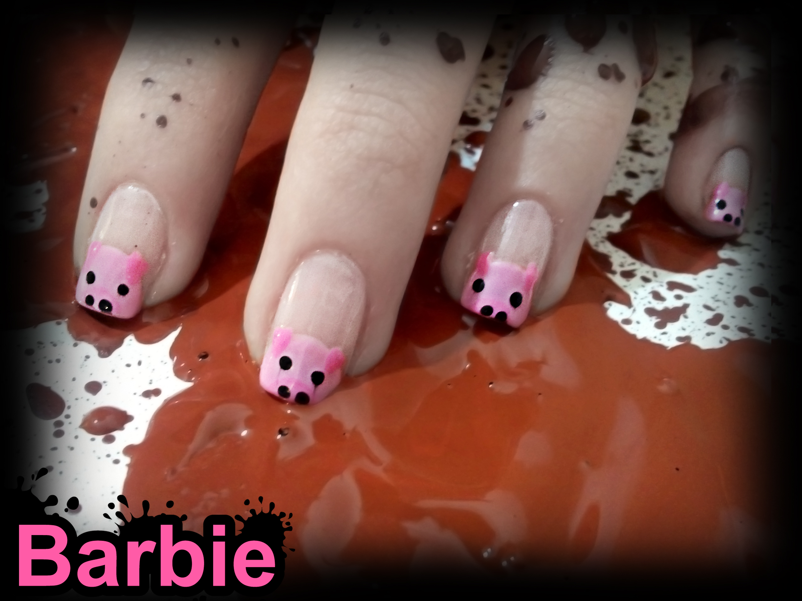 Piggy Nails by BarbieNailArt on DeviantArt