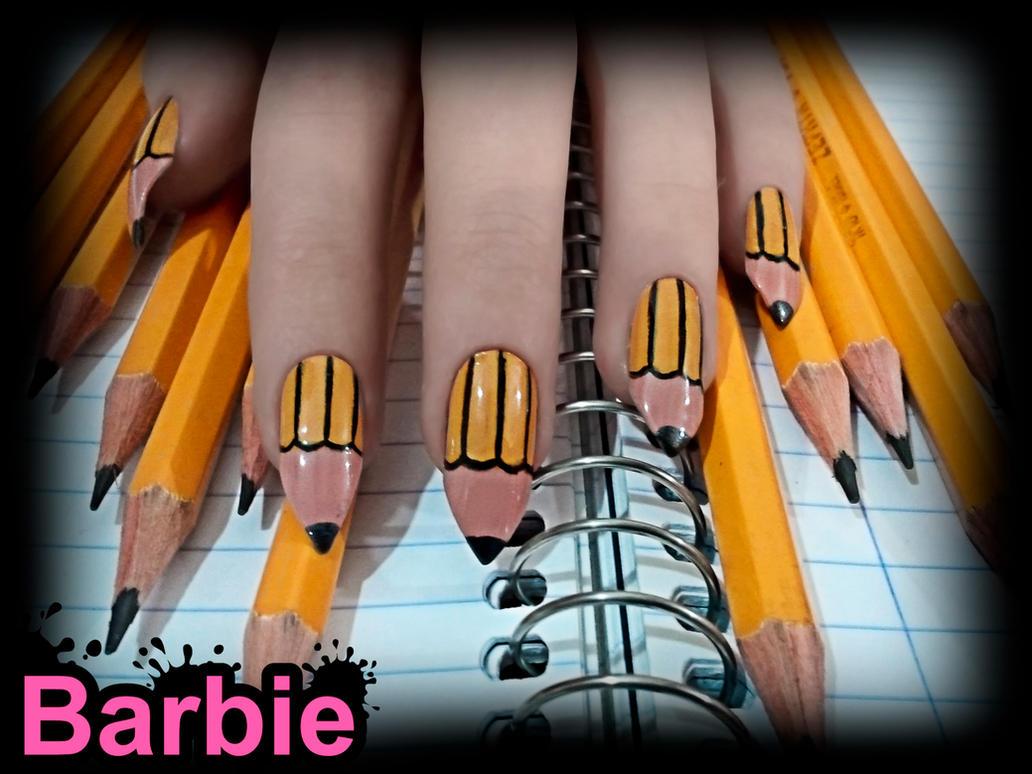 Pencil Nails by BarbieNailArt on DeviantArt