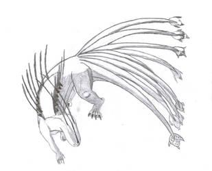 Unoraptormon- Ninetailed form by Unoraptormon