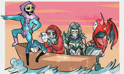 80's villains...on a boat! by coffeebandit