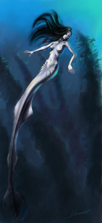 Dark Mermaid Art mermaid by WhoAmI01