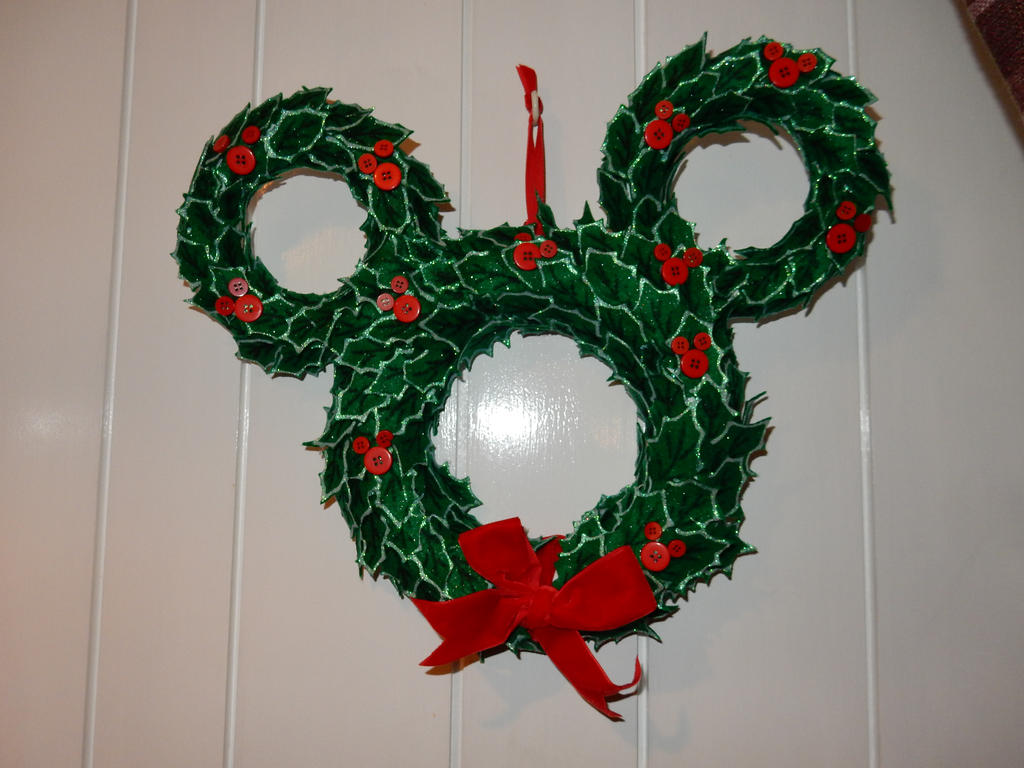 disney mickey mouse christmas wreath by wolfwarrior9 - Mickey Mouse Christmas Wreath