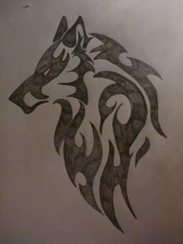 Tribal Art- Wolf Head