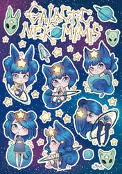 Galactic Nekomimis Sticker sheet by Konoko-Yoyo-Tsuke