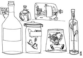 Jars and bottles (colouring page)