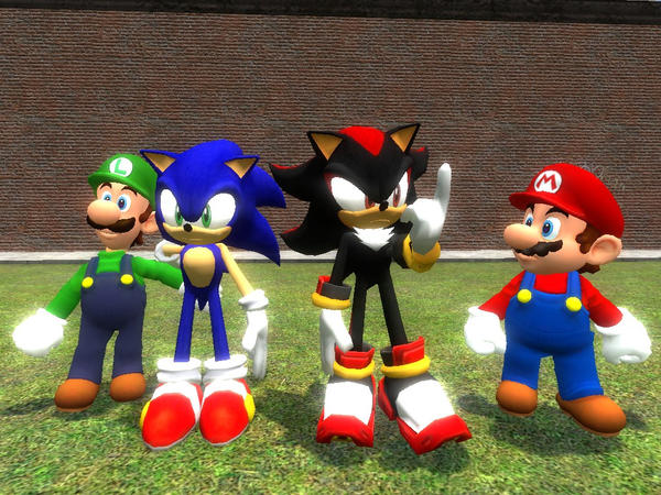 Luigi And Sonic sonic shadow mario lui...