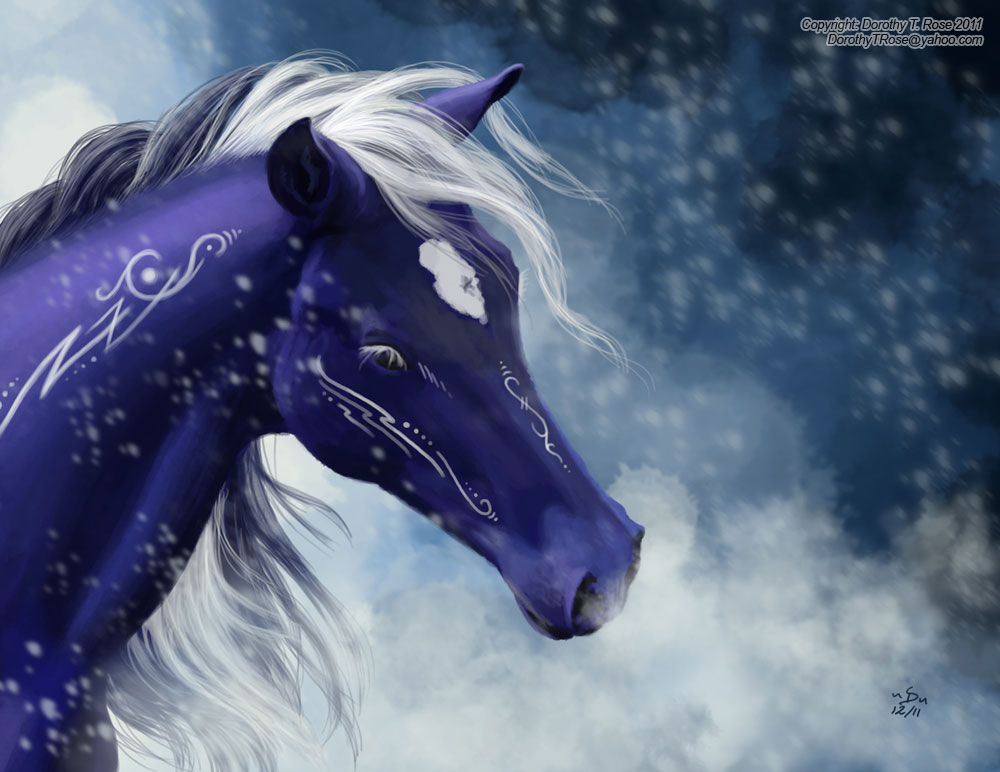 Blue and White Horse by Dorothy-T-Rose
