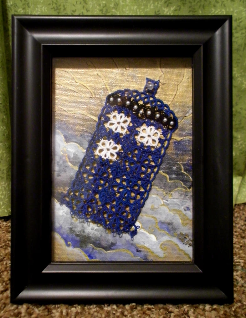 Framed Tatted TARDIS by Dorothy-T-Rose