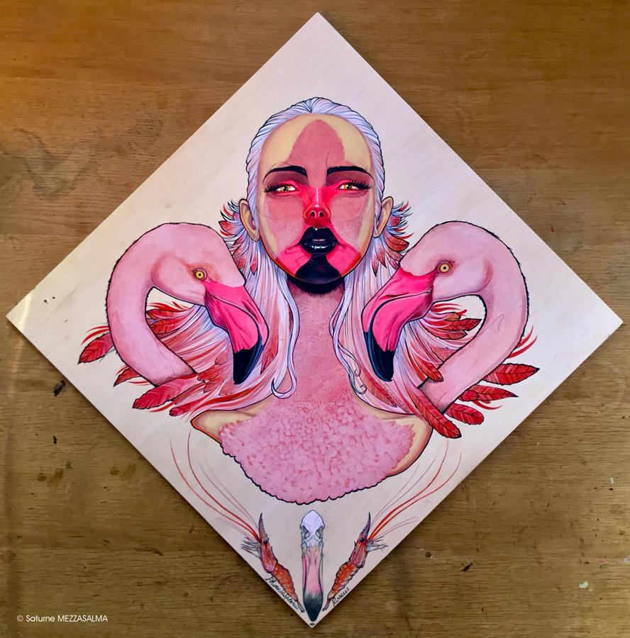 BIRD WOMAN #3 - Flamingo by junglecookie