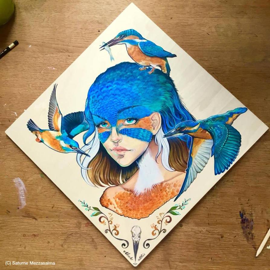 BIRD WOMAN #1 - Kingfisher by junglecookie