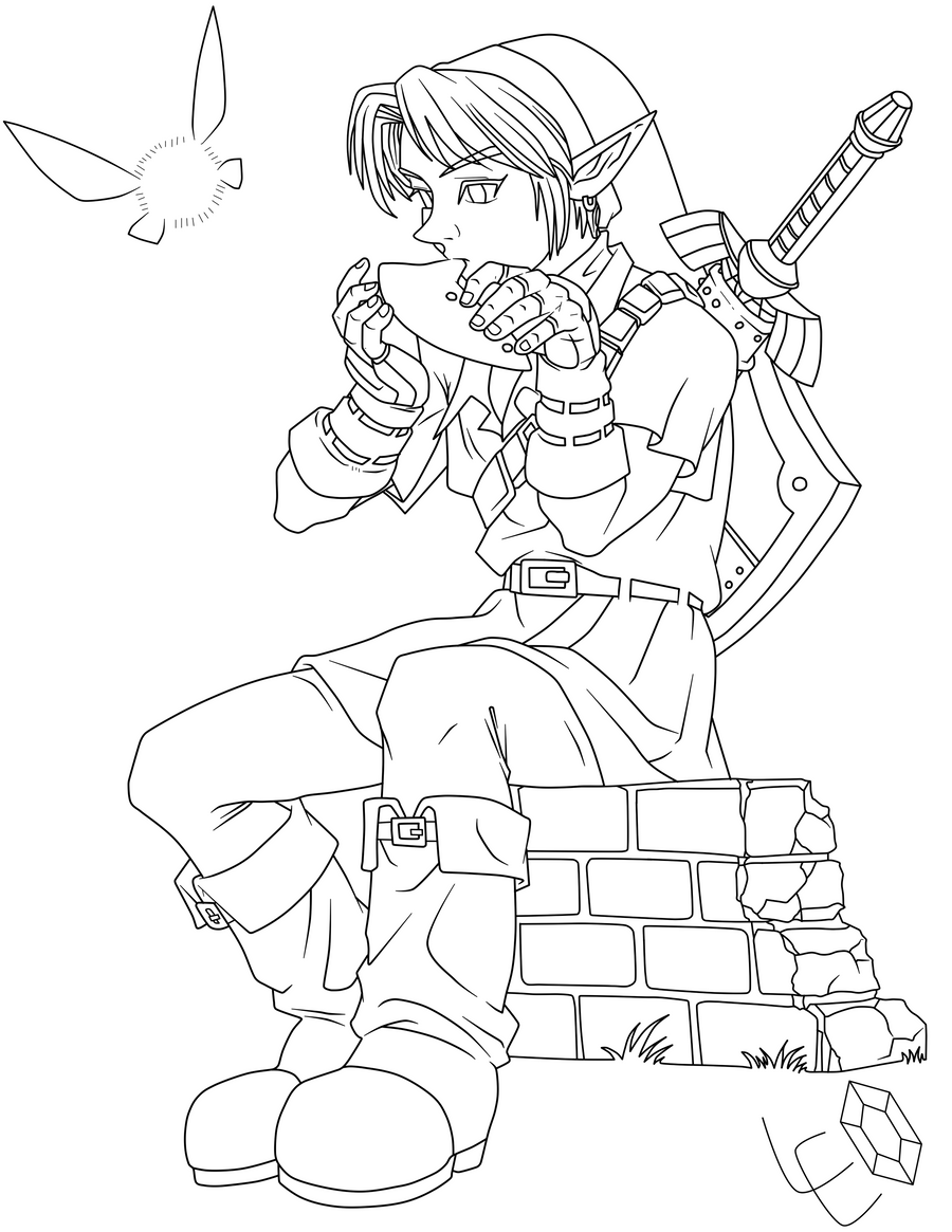 Link Ocarina Of Time By Link Leob On Deviantart Coloring Page Of Legend Of Ocarina Of Time