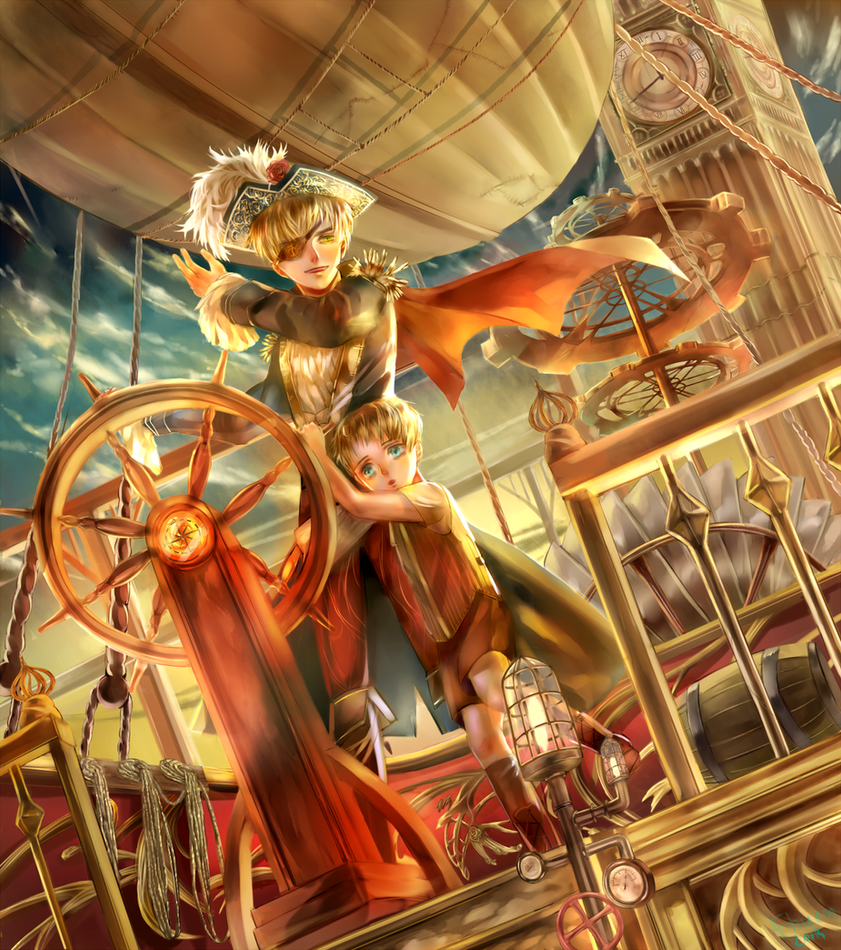 [aph USAandUK] Pirate ship by Fhyen