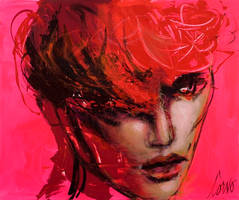Face with Red Hair on Pink by cornostudio