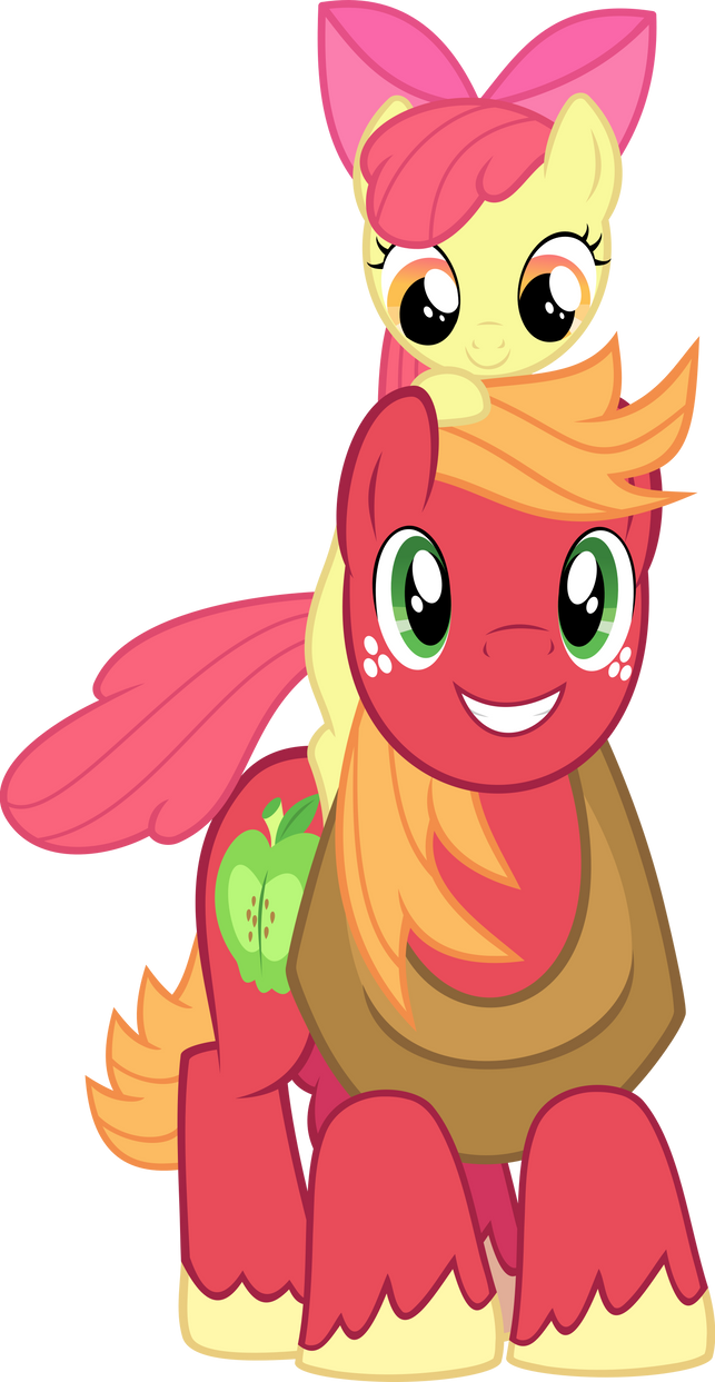 apple bloom on big mac's shoulders vectormandydax on deviantart